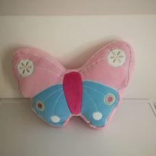 Pillangó formájú pasztell rózsaszín plüss párna
