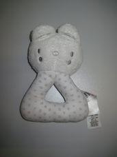 Puha plüss bébicsörgő szürke csillagos cica figurával