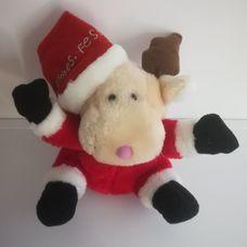 Karácsonyi rénszarvas plüss Mikulás ruhában