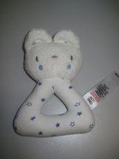 Puha plüss bébicsörgő sötétkék csillagos cica figurával