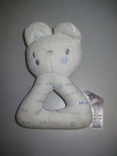 Puha plüss bébicsörgő világoskék feliratos cica figurával
