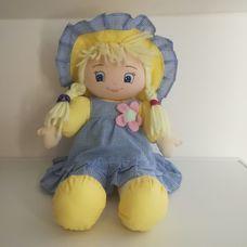 Simba My Love Dolly kék kockás ruhás szőke hajú rongybaba