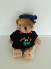 Jersey Teddy plüss maci sötétkék svájci sapkában