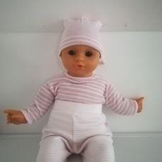 50 centis retro élethű csecsemő baba csíkos ruhában