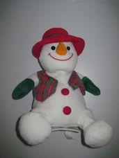 Interaktív éneklő táncoló kockás mellényes plüss hóember