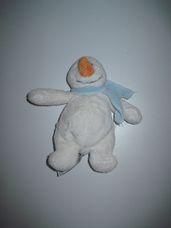 Mini plüss hóember kék sállal, répaorral