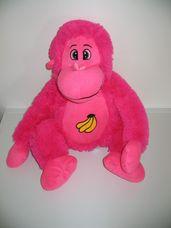 Bananas nagy pink plüss majom banán hímzéssel