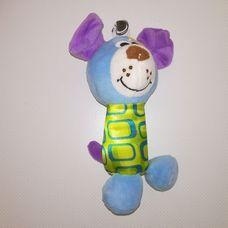 Kék lila plüss kiskutya marok csörgő