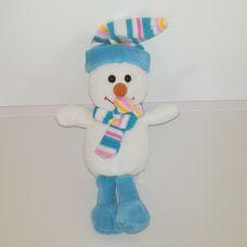 Plüss hóember figura sállal és sapkával