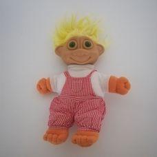 Zölden világító szemű sárga hajú troll baba