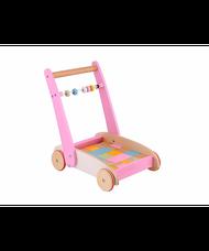 ELC fából készült járássegítő építőkockákkal rózsaszín
