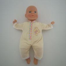 Tesco puha törzsű csecsemő baba sárga rugdalózóban