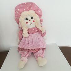 Óriási rózsaszín pöttyös ruhás rongybaba kalapban