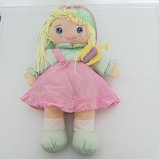 Simba My Love Dolly pink kockás ruhás szőke hajú rongybaba
