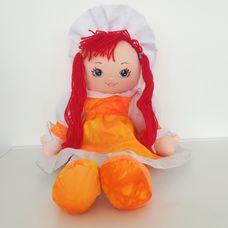 PMS nagyméretű narancssárga ruhás vörös hajú rongybaba