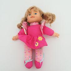 Tesco EMMI kék szemű szőke hajú kislány baba pink ruhában