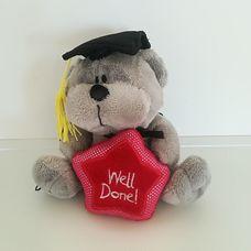 Diplomaosztóra való ajándék plüss maci talárban