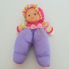 Első babám lila pink rugdalózós puha rongybaba