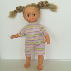 Puha törzsű kék szemű szőke fonott copfos kislány baba