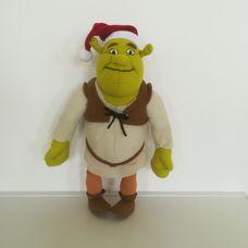 Plüss Shrek figura mikulássapkában