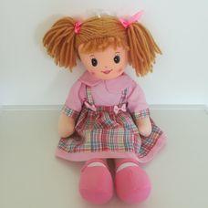 Girlie Paws vörösesbarna hajú rongybaba rózsaszín ruhában
