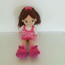 Aurora barna hajú rózsaszín ruhás kislány rongybaba