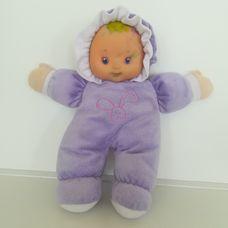 Tesco EMMI lila rugdalózós első babám puha rongybaba