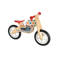 ELC Wooden Balance Bike pöttyös futóbicikli