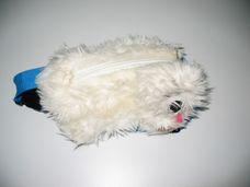 Fehér plüss kutya övtáska