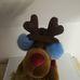 Karácsonyi rénszarvas plüss kék fülvédővel