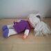 Lila ruhás fehér hajú cuki rongybaba