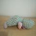 Mentazöld lila rugdalózós első babám puha rongybaba