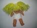 Hosszú szőke copfos babzsákos törzsű pislogós baba