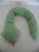 Horgolt zöld barna hosszú kígyó kinyújtott nyelvvel
