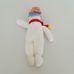 Horgolt hóember figura csíkos sapkában sállal