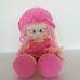 Nagyméretű kalapos szemüveges pink hajú rongybaba