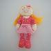 Csörgő hasú szőke hajú plüss baba rózsaszín ruhában