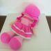 Hatalmas rózsaszín ruhás rongybaba pink hajjal