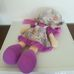 Hatalmas lila ruhás kalapos rongybaba lila hajjal