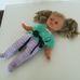 Puha törzsű kék szemű szőke copfos kislány baba